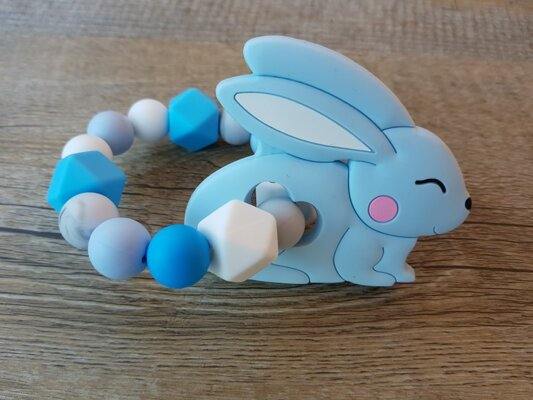 Silicone baby teether: Toy hare blue