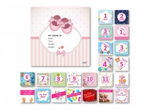 Milestone cards Deluxe for a baby girl (English)