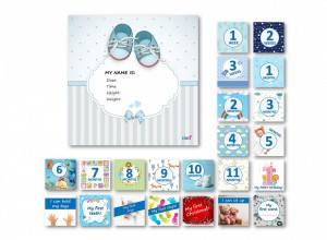 Milestone cards Deluxe for a baby boy (English)